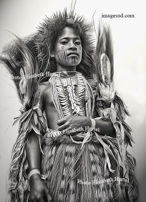 Jeune fille, danse coutumière, Papouasie Nouvelle Guinée