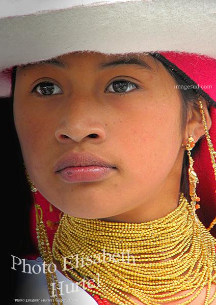 Portrait d'art : jeune fille des Andes, Equateur, tirage d'art