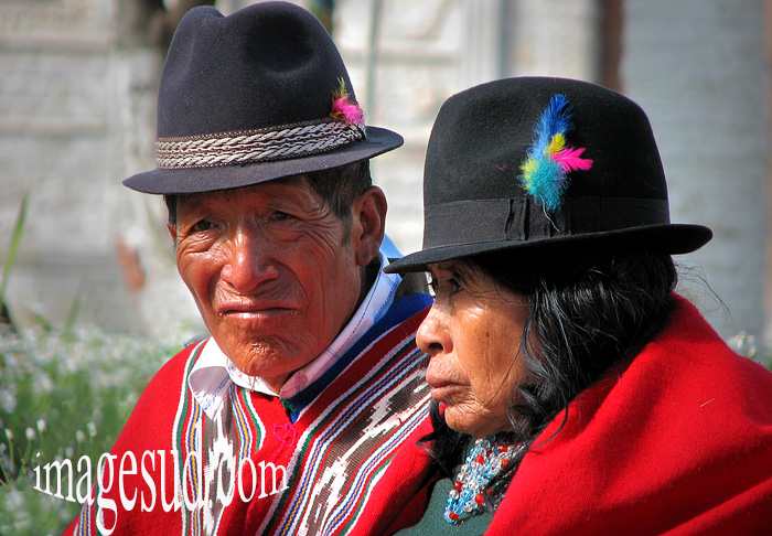 Couple d'Indiens Puruha de la région de Riobamba, Equateur, peuple indigène des Andes, Amérique du Sud