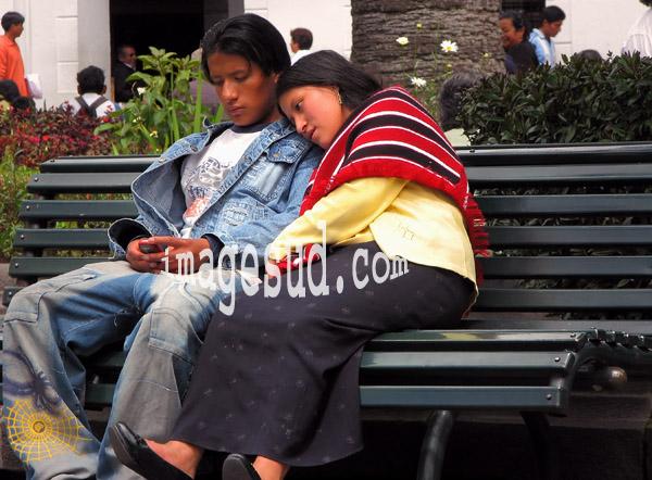 Amoureux, scène de rue à Quito, Equateur, Amérique du sud