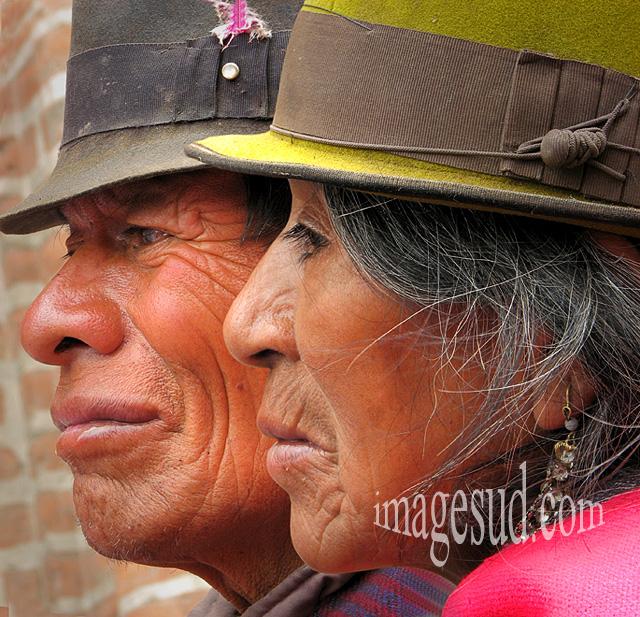 Portrait double : peuples des Andes, indiens indigènes des Andes en Amérique du sud