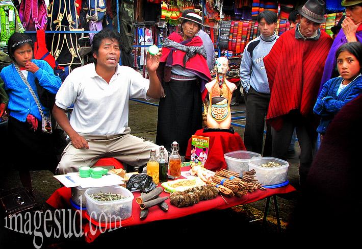 Homme médecine, scène de marché, indiens des Andes, Amérique du sud