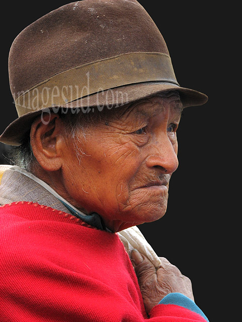 Portrait d'un indien des Andes, peuples indigènes d'Equateur, Amérique du sud