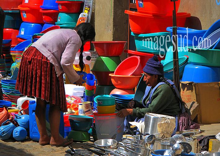 Scène de marché en Bolivie, Amérique du Sud