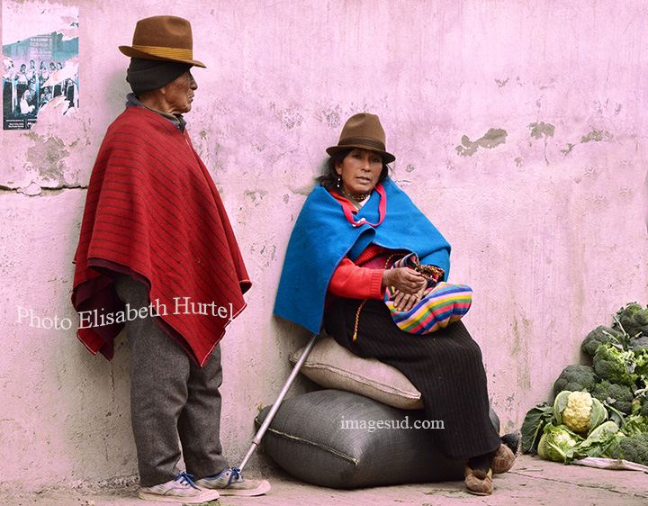 Couple d'indiens des Andes, nation Puruha, Equateur. Puruha nacion in the Andes, Ecuador.