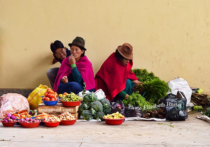 Scène de marché indigène en Equateur, Chimborazo. Indigenous Market scene in Ecuador