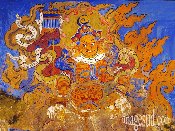 Bouddhisme tibétain : peinture murale du gompa de Thiksey , Dharmapala.  Bouddhisme