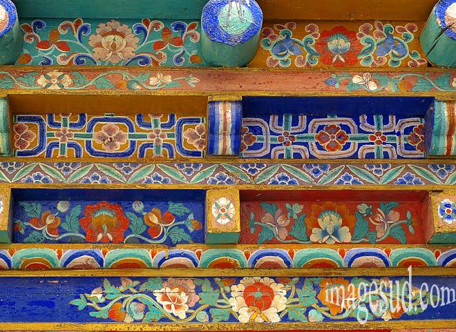 Art et bouddhisme tibétain : d étail, motifs décoratifs, monastère (gompa) de Thiksey